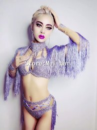 Wholesale Sexy Dance Performance Costumes - Glisten 5 Colors Shining Tassel Outfit Women Sexy Party Sequins Bra Short Costumes Stage Dance Nightclub Singer Performance Wear