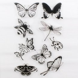 Wholesale Free Scrapbooking Supplies - Wholesale- 1PCS Flower Butterfly Cute Transparent Stamp DIY Scrapbooking Card Making Christmas Decoration Supplies Free Shipping