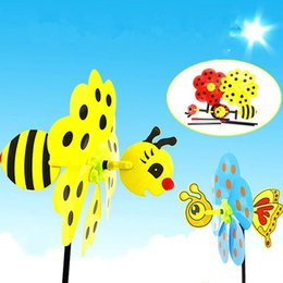 Wholesale Cartoon Windmill - 2017 New Cartoon Animal Bee Ladybug Windmill Wind Spinner Whirligig Garden Lawn Decorative Crafts Kids Outdoor Toys Party Favors