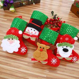 Wholesale Christmas Decoration Hanging Santa - 2017 Christmas Stockings Santa Claus Socks Gift Holder Bags Festival christmas Hanging Kids Candy Gift Bags Tree Decoration