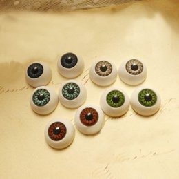 Wholesale Plastic Craft Eyes - Wholesale-8PCS 15mm Half Round Acrylic Doll Bear Craft Plastic Eyes Eyeball DIY Halloween