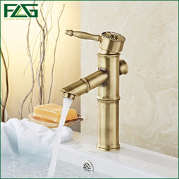 Wholesale Waterfall Style Bathroom Faucets - FLG Nordic Style Bath Mat Bamboo Shape Design Vintage Sink Antique Brass Finish Bathroom Faucets Waterfall Basin Mixer Tap 10602
