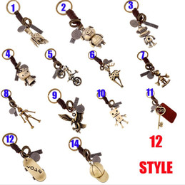Wholesale Pig Keychains - New Vintga Alloy Bronze cow leather Weave Keychian Pig monkey KT cat bicycle deer robot Eagle bag accessories Genuine leather keychain gg18