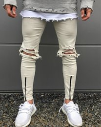 Wholesale White Stretch Jeans Mens - New Arrival Fashion Brand Mens Personality Printed Color Splice Washing Machine Slim Skinny Stretch Biker Knee Big Hole Jeans