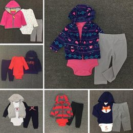 Wholesale Infant Leopard Coat - Christmas Baby Boys Girls Letter Sets coat +romper+Pants Kids Toddler Infant Casual Long Sleeve Suits Spring Children Outfits Clothes Gift