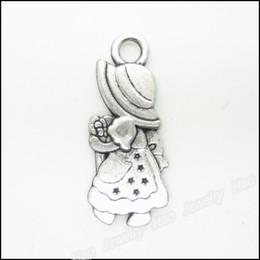 Wholesale Little Girls Gold Necklace - Wholesale- 30 pcs Vintage Charms The little girl Pendant Antique silver Fit Bracelets Necklace DIY Metal Jewelry Making