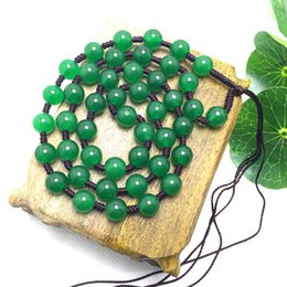 Wholesale Jade Beads Mm - 8 mm Beautiful Chinese Handwork Natural Jade beads necklace Pendant Rope Chain