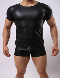 Wholesale Tight Leather Underwear - High Quality Men Black Leather T-Shirts Male Flexible Tight Tops Short Sleeve Bodycon Underwear Sexy Clubwear