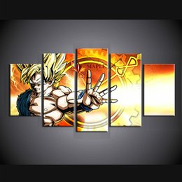 Wholesale Dragon Wall Painting - 5 Pieces Large Canvas Art HD Canvas Print wall art picture Dragon Ball Modern Abstarct Painting For Home Decoration