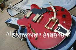 Wholesale Electric Guitar Hollow Body Gold - Wholesale- red 335 hollow body electric guitar with gold hardware