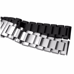 Wholesale Deployment Black Leather Strap - 18 20 21 22mm Hot Sell New Men Women Silver Black 316L Solid Stainless Steel Bracelet Watch Band Strap Belt Luxury Best Gift