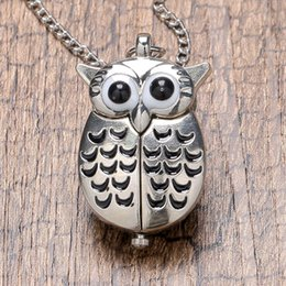 Wholesale Owl Watch Pendant Wholesale - Fashion Silver Unisex Vintage Slide Smart Owl Animal Pendant Antique Necklace Pocket Watch Gift High Quality