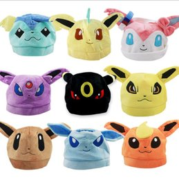 Wholesale Design Soft Toys - Poke plush Hat Pocket pikachu plush caps for kids 9 designs Sylveon Cosplay Soft Cute Plush Toy Cap Warm Soft Hat KKA2186
