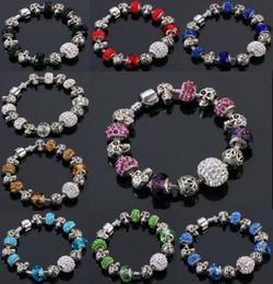 Wholesale Cute Infinity Charm Bracelets - beaded charms jewelry Skull bracelets infinity beads bracelet new fashion 9 colors charm Jewelry fashion Cute European Beads bracelet