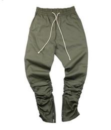 Wholesale Skinny Leg Joggers - HEYGUYS army Pants Casual Skinny Zipper botton Sweatpants Solid Hip Hop high street Trousers Pants Men Joggers Slimming pants
