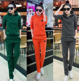 Wholesale Korean Casual Sportswear - 2017 new Korean slim two piece female fashion sweater size plus winter casual sportswear cashmere thickening