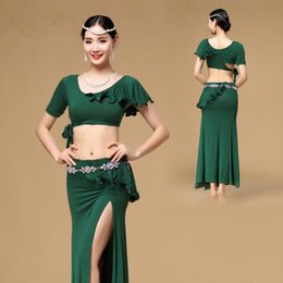 Wholesale Cheap Women Skirt Sets - Cheap Women Belly Dance Clothing 2017 New Soft 2-piece Set Top and Skirt Spandex Clothes Practice Dance Costumes 4 Colours