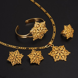 Wholesale 24k Gold Wedding Bangles - Gold Flowers set Jewelry Women 24k Real Yellow Solid Gold GF Pendant Necklace Earrings Ring Bangle African Arabian Ethiopian Jewellery