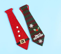 Wholesale Polyester Christmas Necktie - Christmas Tie Party favor Children Snowman Santa Claus Stripe Neckties Funny Ornament Christmas Tree Pendant Decoration Ties colorful
