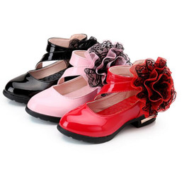 Wholesale Girls Red Leather School Shoes - New Arrival Children 3Colors Leather Fashion Shoes Girls Big Flower Casual Dancing Shoes School Lovely Shoes