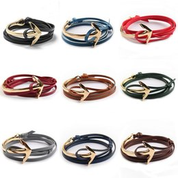 Wholesale Gold Charm Anchors - Gold Plated Anchor Leather Bracelets Leather Charm Bracelet for Men and Women Multilayer Leather Cuff Bracelet