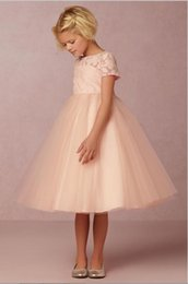 Wholesale Tea Length Holy Communion Dresses - Cute Champagne Pink Lace First Communion Dresses For Girls 2017 Tea Length Open Back Flower Girl Dresses For Weddings Holy Party