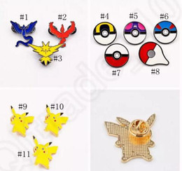 Wholesale Action Figure Anime Resin - Poke Brooch Pins Cartoon Pikachu pokeball Badge Zinic Alloy Action Figures Anime Toy Chrismas Gift 30 pcs free shipping