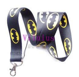 Wholesale Key Chain Strap Holder - Hot 30pcs Hero Batman Lanyard Cartoon Bat Logo Neck Lanyard For Key chains ID Neck Strap Holder Mobie Phone Charms
