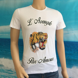 Wholesale Luxury Clothes For Men - Luxury Brand clothing blind for love t shirt fashion embroidery tiger dog t shirt casual short sleeve summer men hip hop tops tee