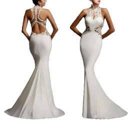 Wholesale Long Sleeve Maxi Wedding Dress - Women Lace Bodycon Fishtail Evening Party Wedding Pageant Gown Long Maxi Dress