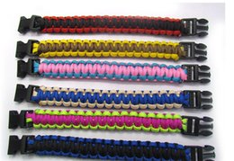 Wholesale Outdoor Climbing Rope - Outdoor Gear Hiking Camping Wristband Survival Bracelets Rope Paracord Rescue Bind Tent Tools Custom Color Fast Shipping