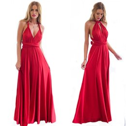 Wholesale Party Dresses For Clubs - 2017 Summer Sexy Boho Floor Dress for Women Multiway Bridesmaids Convertible Backless Dress with Halter Bandage Red Party Dresses ZL3055