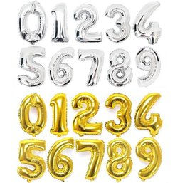 Wholesale Graduation Helium Balloons - 90cm Height 40 inch Helium Aluminum Numbers Gold Foil Balloons Birthday Wedding Party Decoration Kids Toy Numbers 0-9 Gold and Silver Colors