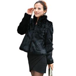 Wholesale Ladies Short Rabbit Fur Coats - 2016 New women fur coat Casual Short Design faux rabbit fur coat Lady Garment Plus Size Warm autumn Winter overcoat DX335