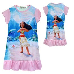Wholesale Tutu Double Color - 6 style trolls Double-sided printed dresses moana Summer dress with short sleeves trolls moana cartoon short cloth