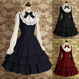 Wholesale Gothic Lolita Dresses - Lace Retro Lotus Leaf Pleated Long Sleeved Cosplay Prom Dress Fashion Gothic Lolita Ball Gown 2018 Real Photo