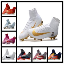 Wholesale Open Fabric Toe Boots - 2017 High Top Best football shoes men's CR7 CR501 boots new Ronaldo cr7 Black soccer boots superflys football boots high tops soccer cleats