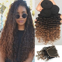 Wholesale Deep Auburn - Ombre Peruvian Deep Wave Virgin Hair 3 Bundles With 4*4 Lace Closure Three Tone 1B 4 30 Auburn Ombre Hair Extensions