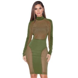 Wholesale Long Sleeve Bandage Dress Mesh - Turtleneck Long Sleeve Celebrity Bodycon Bandage Dress 2016 Winter Blue Red See Through Mesh Sexy Women Birthday Party Dresses 17411