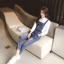 Wholesale Suspenders Pregnant - Adjustable Bib Jeans Fashion Maternity Pants Hole Dungarees Loose Suspenders Clothes for Pregnant Women Pregnancy Clothing