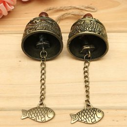 Wholesale Chinese Wind Fish - Metal Small Wind Chimes Cool Vintage Dragon Fish Pattern Car Door Bed Hanging Bell Pendant Home Garden Chinese Style Decoration