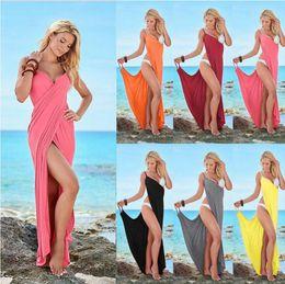 Wholesale Pink Dress Women Xxl - Deep V Beach Bandage Dress Women Solid Color Beach Bikini Wrap Cover Up Backless Harnesses Long Maxi Dresses OOA2312
