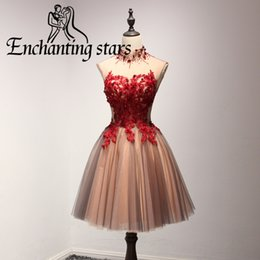 Wholesale Beaded Collar Short Dress - 2017 High Neck Cocktail Dresses Beaded Collar Open Back Vintage A-Line Short 8th Grade Prom Dress Lace Appliques Girls Homecoming Party Gown