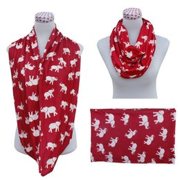 Wholesale Cotton Circle Scarf - Infinity Scarf 2 Colors Elephant Printed Imitation Cashmere Scarf For Women Children Circle Loop Scarf 120 Pieces
