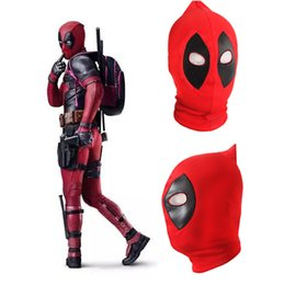 Wholesale Christmas Coats For Men - Red Black Color Deadpool Mask Cosplay Lycra Spandex Masks Coating Face Mask Costume Men's Masks
