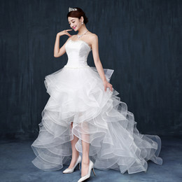 Wholesale Modern Chinese Wedding Dress - Beach Wedding Dresses Cheap Chinese Lace Front Short Long Back Wedding Gown Sweet Bride Dress With Tail Wedding Guest Dress Under 100