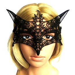 Wholesale Fox Fancy Dress - Wholesale-New 1Pc Black White Sexy Lady Lace Masks Cutout Eye Masks for Halloween Masquerade Party Fancy Dress Costume Fox Mask