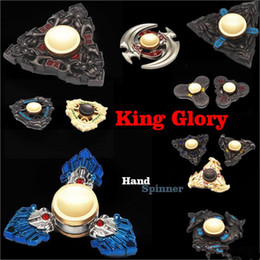 Wholesale Honor Glory - 2017 HOT EDC Hand Spinners Metal King Glory Hand Spinner Honor Hurricane Shape Alloy Hand Spinner Tri-Spinner Fidget Toy DHL