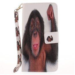 Wholesale Monkey Cards - Painted monkey pattern flip stand PU leather case for iphone 5 5s 6 6 6s 6plus 6splus 7 7 plus card slot wallet phone cases