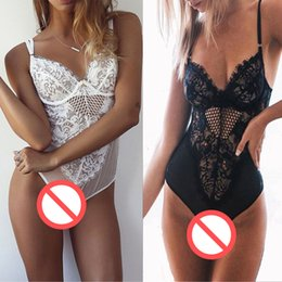 Wholesale Sexy Acrylic - Free Shipping 2017 new underwear Sexy Women Spring black white Lace Siamese Night Sleep wear Babydoll Suit Lingerie Euramerican style